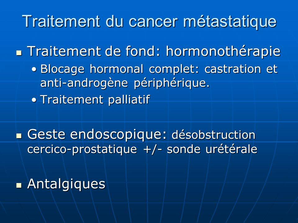 Traitement du cancer métastatique Traitement de fond: hormonothérapie Traitement de fond: hormonothérapie Blocage hormonal complet: castration et anti-androgène périphérique.Blocage hormonal complet: castration et anti-androgène périphérique.