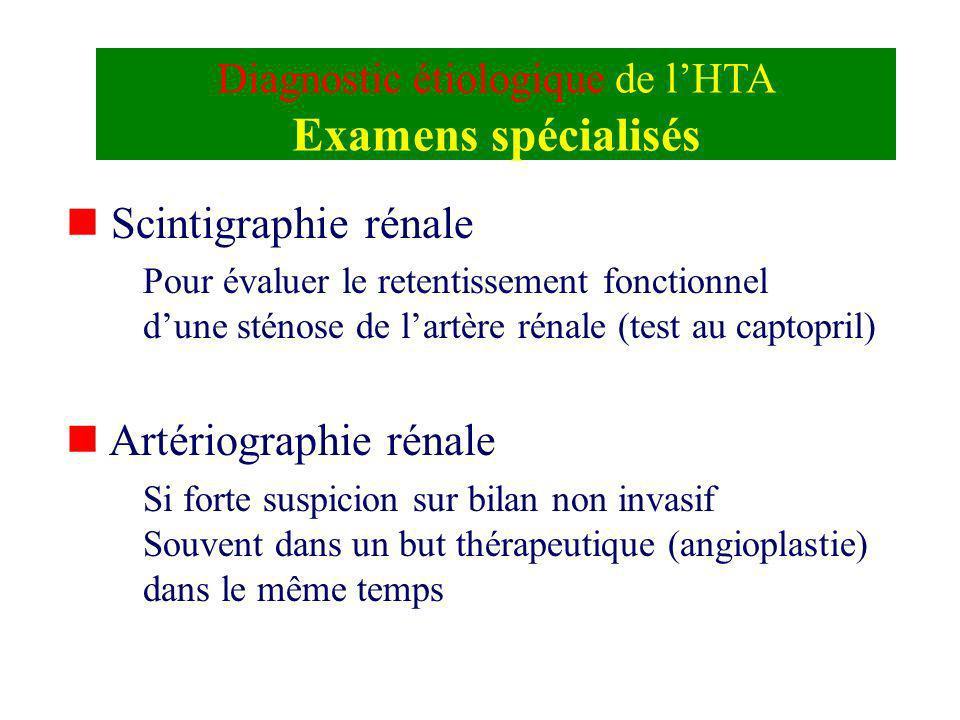 Diagnostic étiologique de lHTA Examens spécialisés n Scintigraphie rénale Pour évaluer le retentissement fonctionnel dune sténose de lartère rénale (t