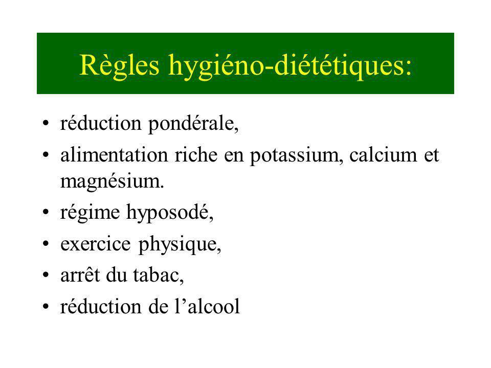 Règles hygiéno-diététiques: réduction pondérale, alimentation riche en potassium, calcium et magnésium. régime hyposodé, exercice physique, arrêt du t