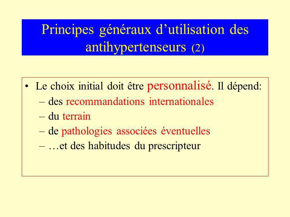 Principes généraux dutilisation des antihypertenseurs (2) Le choix initial doit être personnalisé. Il dépend: –des recommandations internationales –du
