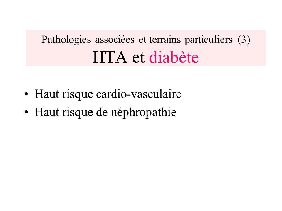 Pathologies associées et terrains particuliers (3) HTA et diabète Haut risque cardio-vasculaire Haut risque de néphropathie