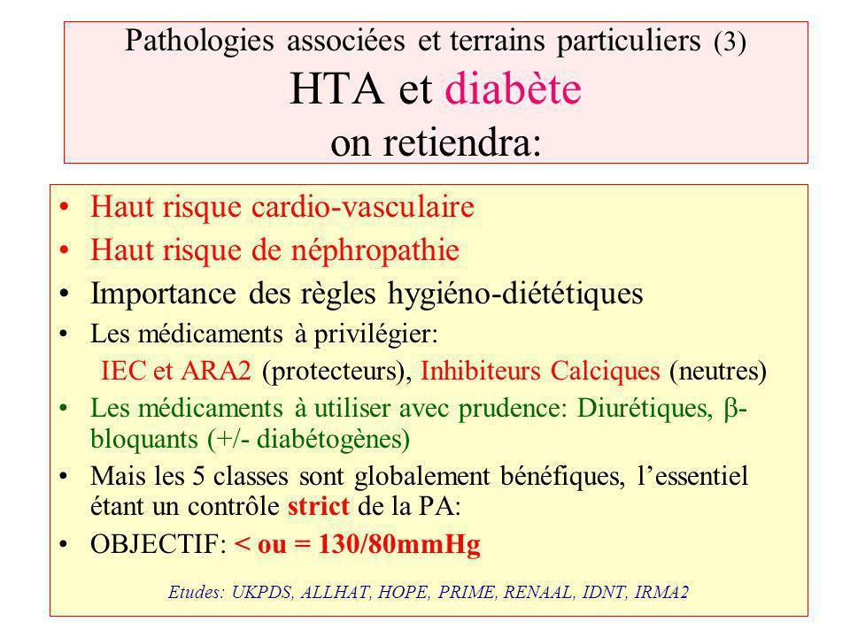 Pathologies associées et terrains particuliers (3) HTA et diabète on retiendra: Haut risque cardio-vasculaire Haut risque de néphropathie Importance d