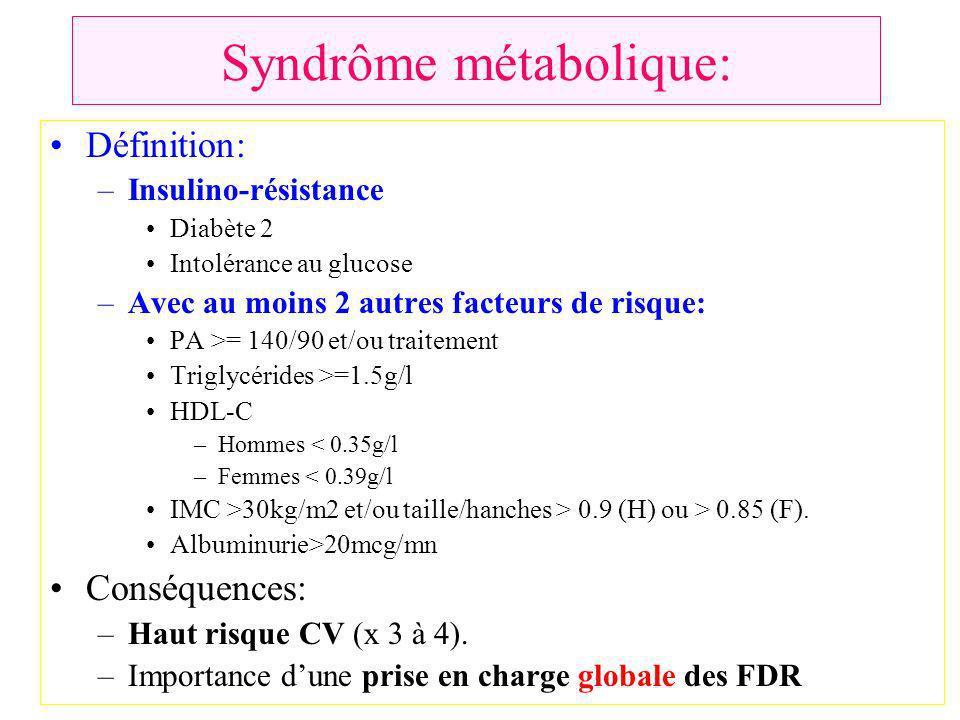 Syndrôme métabolique: Définition: –Insulino-résistance Diabète 2 Intolérance au glucose –Avec au moins 2 autres facteurs de risque: PA >= 140/90 et/ou