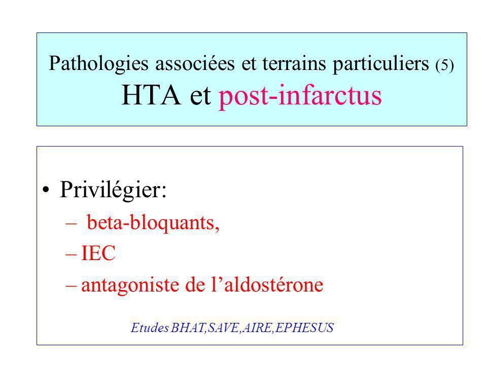 Pathologies associées et terrains particuliers (5) HTA et post-infarctus Privilégier: – beta-bloquants, –IEC –antagoniste de laldostérone Etudes BHAT,