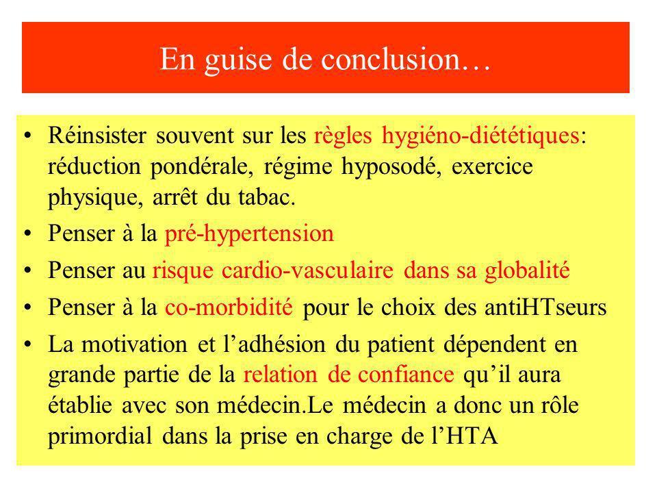 En guise de conclusion… Réinsister souvent sur les règles hygiéno-diététiques: réduction pondérale, régime hyposodé, exercice physique, arrêt du tabac