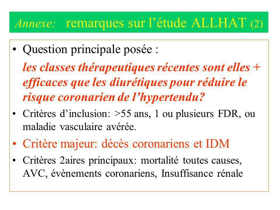 Annexe: remarques sur létude ALLHAT (2) Question principale posée : les classes thérapeutiques récentes sont elles + efficaces que les diurétiques pou
