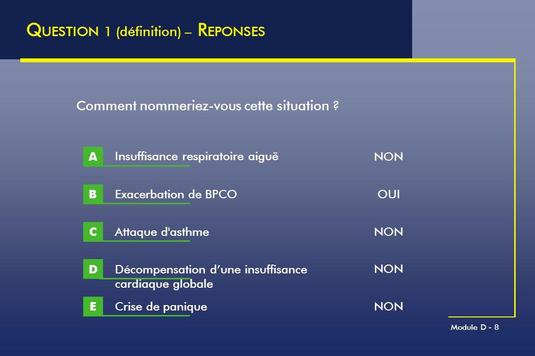 Module D - 8 Q UESTION 1 (définition) – R EPONSES Exacerbation de BPCO B Comment nommeriez-vous cette situation ? Insuffisance respiratoire aiguë A At