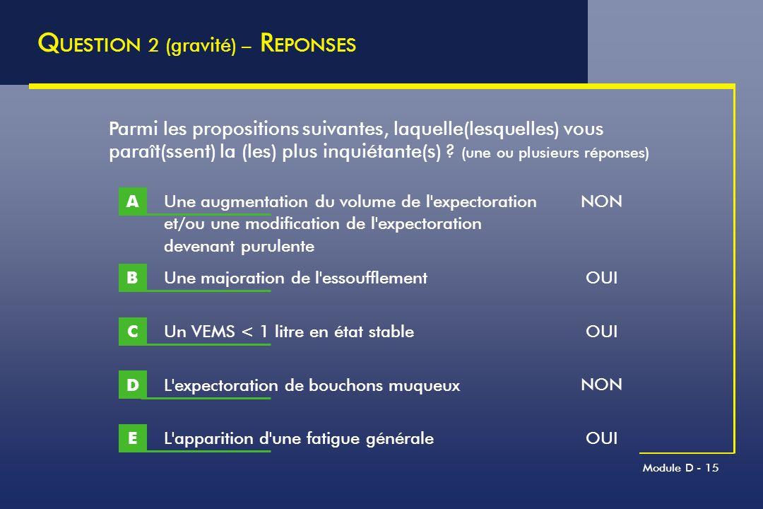 Module D - 15 Q UESTION 2 (gravité) – R EPONSES Une majoration de l'essoufflement B Parmi les propositions suivantes, laquelle(lesquelles) vous paraît