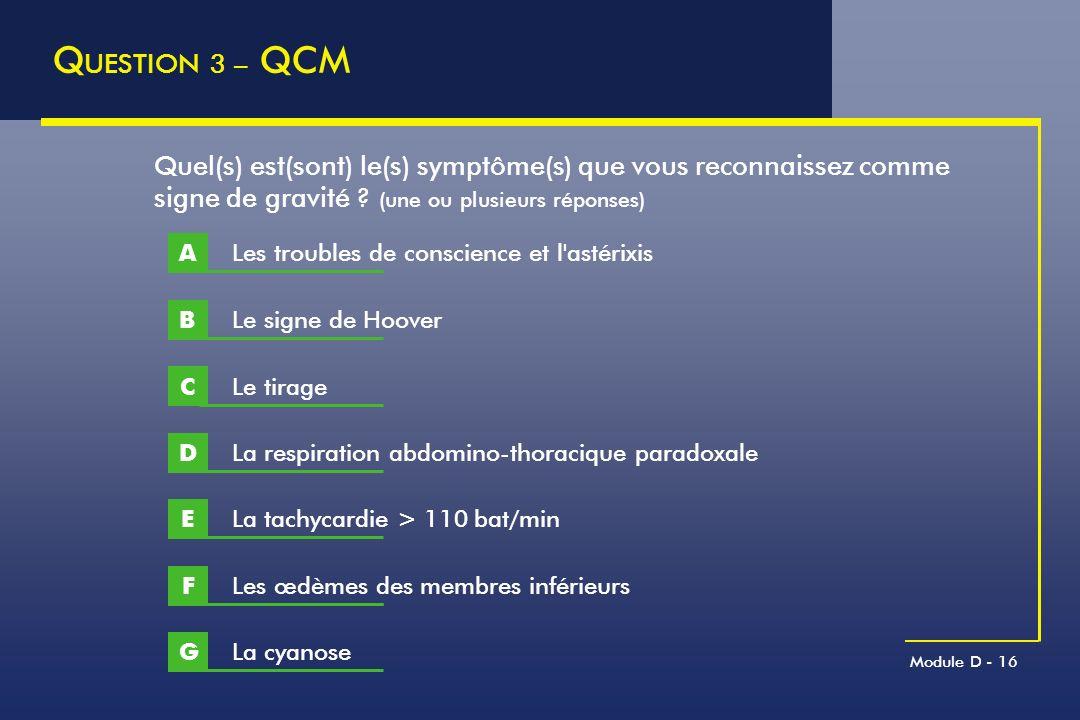 Module D - 16 Q UESTION 3 – QCM Le signe de Hoover B Quel(s) est(sont) le(s) symptôme(s) que vous reconnaissez comme signe de gravité ? (une ou plusie