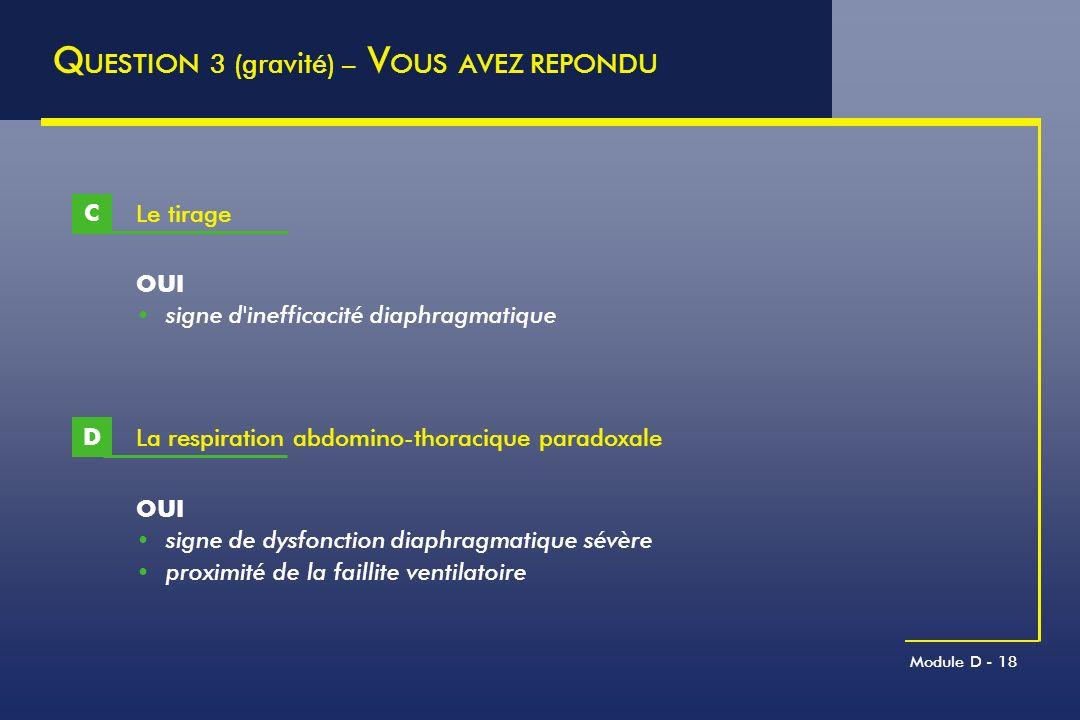 Module D - 18 Le tirage C Q UESTION 3 (gravité) – V OUS AVEZ REPONDU OUI signe d'inefficacité diaphragmatique La respiration abdomino-thoracique parad