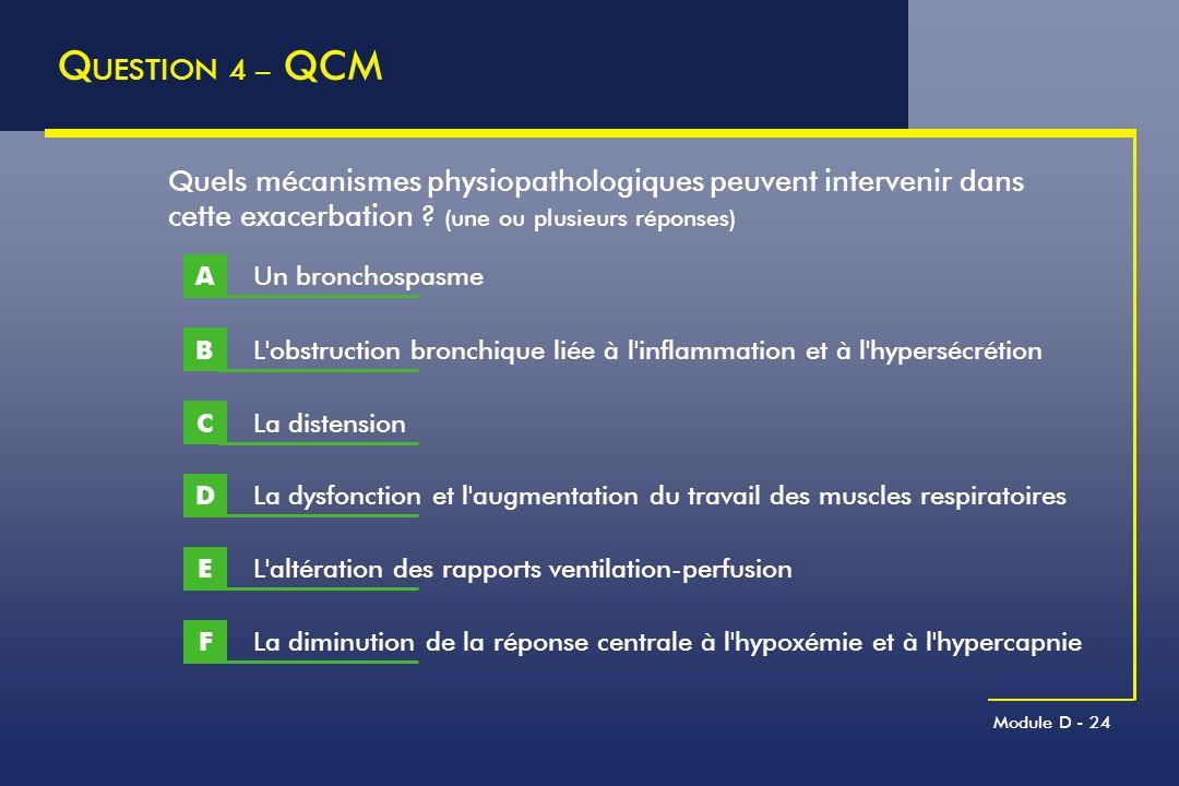 Module D - 24 Q UESTION 4 – QCM L'obstruction bronchique liée à l'inflammation et à l'hypersécrétion B Quels mécanismes physiopathologiques peuvent in