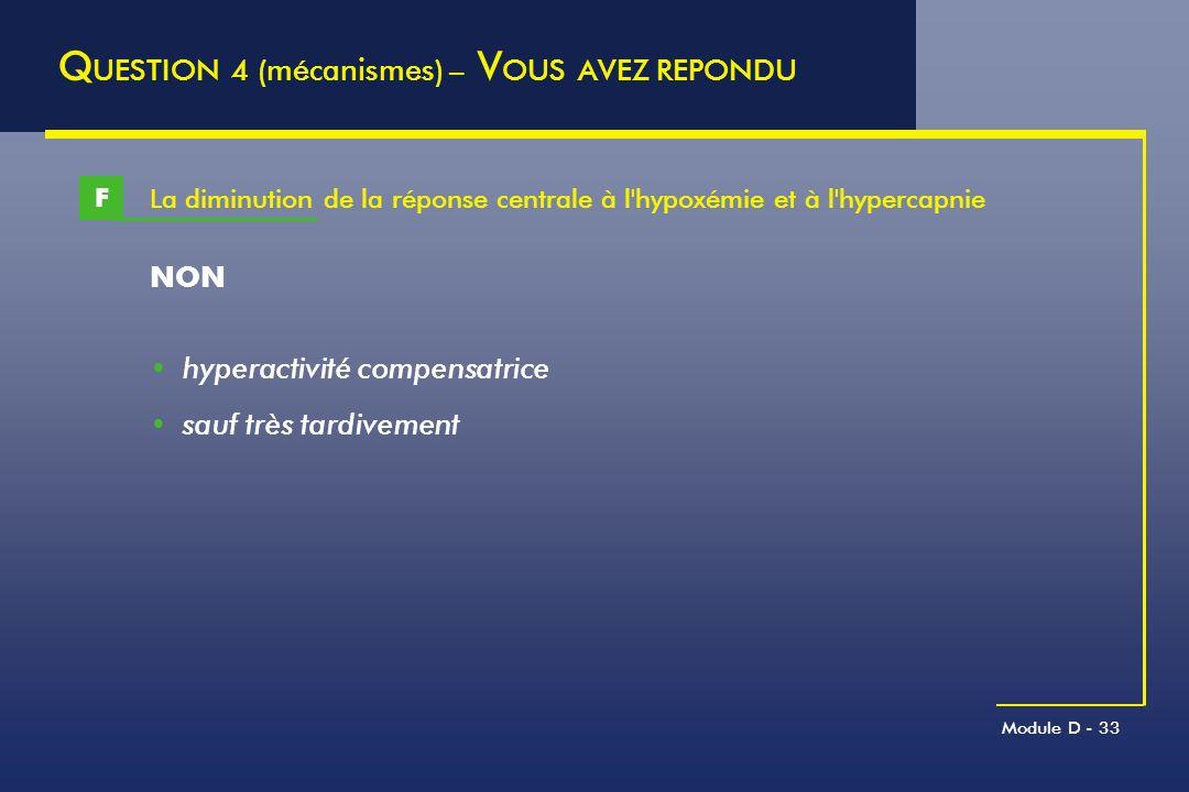 Module D - 33 La diminution de la réponse centrale à l'hypoxémie et à l'hypercapnie F Q UESTION 4 (mécanismes) – V OUS AVEZ REPONDU NON hyperactivité