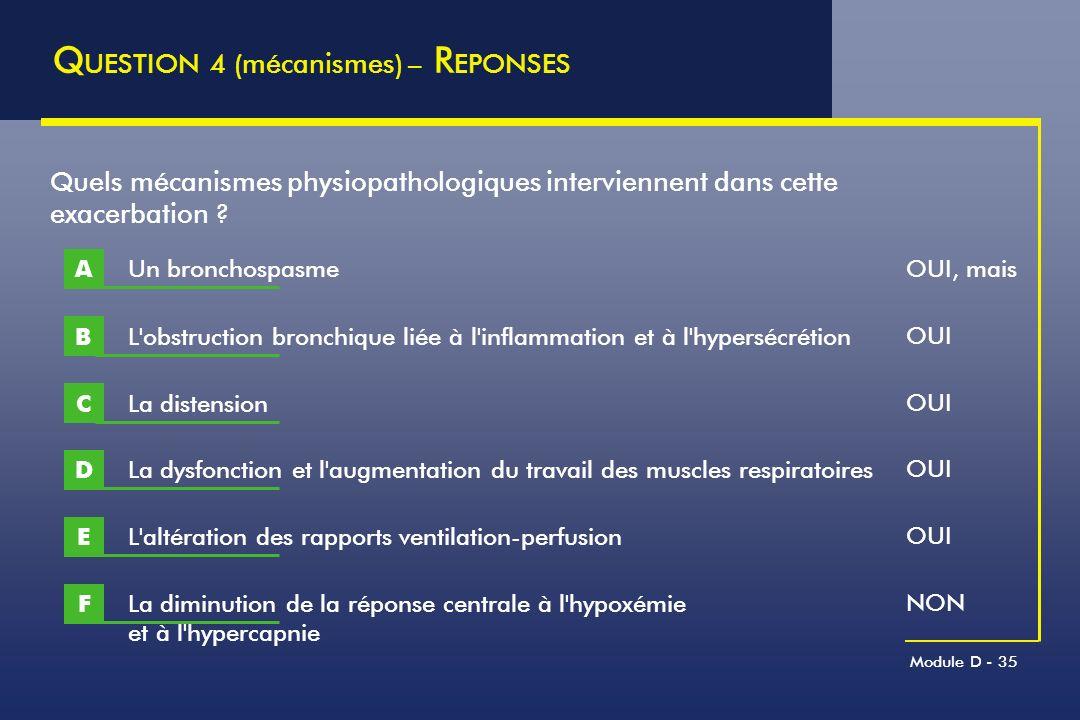 Module D - 35 Q UESTION 4 (mécanismes) – R EPONSES L'obstruction bronchique liée à l'inflammation et à l'hypersécrétion B Quels mécanismes physiopatho