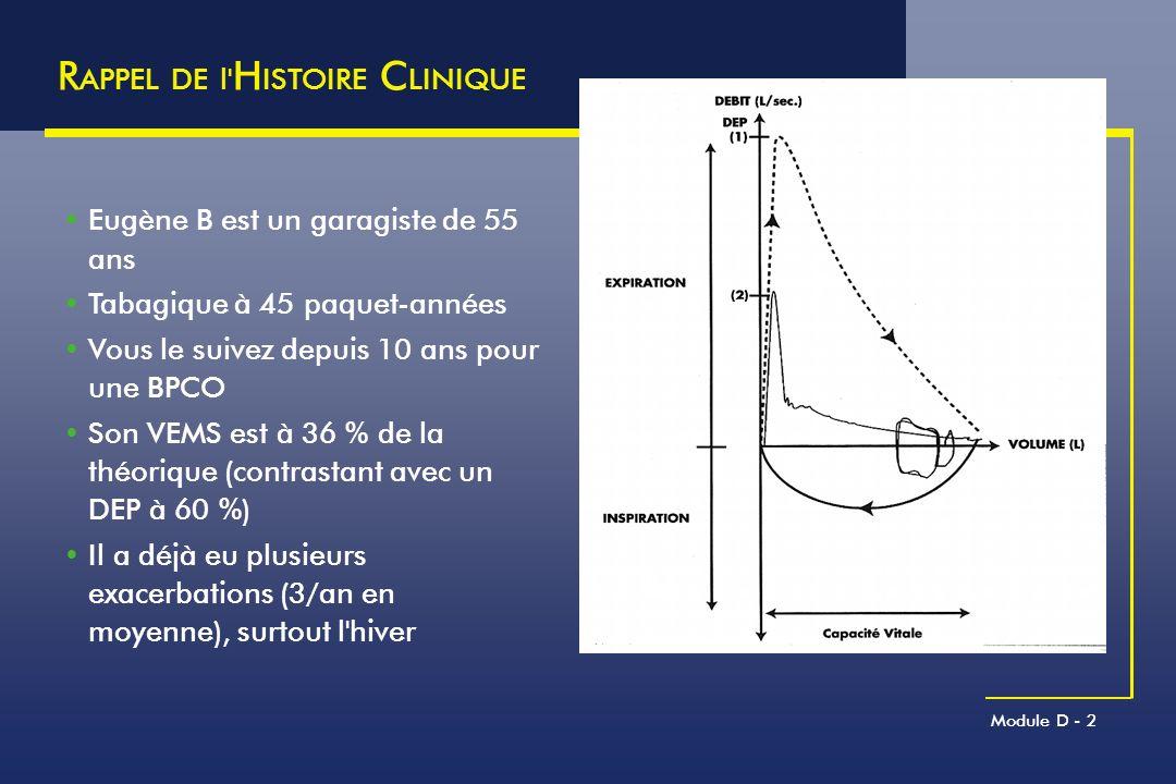 Module D - 75 IRA DES BPCO : P RONOSTIC Tournant évolutif péjoratif de la maladie à court et long terme Survie médiocre Mortalité hospitalière des BPCO non ventilées :11 à 17 % Survie à 1 an : 40 à 60 % selon les séries