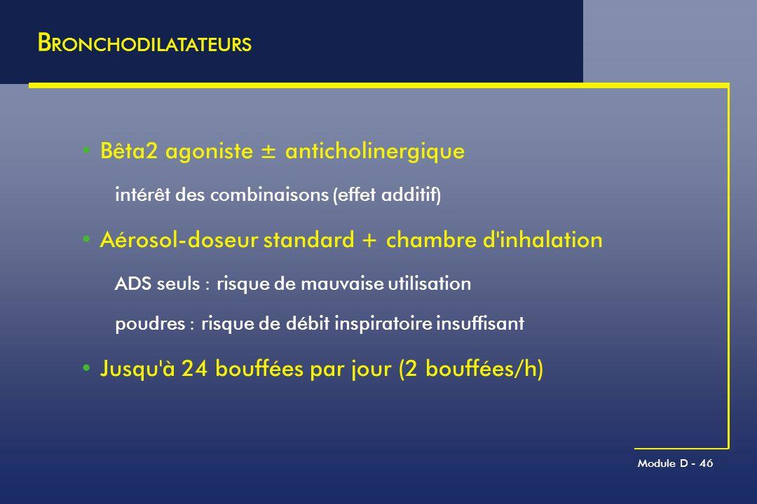 Module D - 46 B RONCHODILATATEURS Bêta2 agoniste ± anticholinergique intérêt des combinaisons (effet additif) Aérosol-doseur standard + chambre d'inha