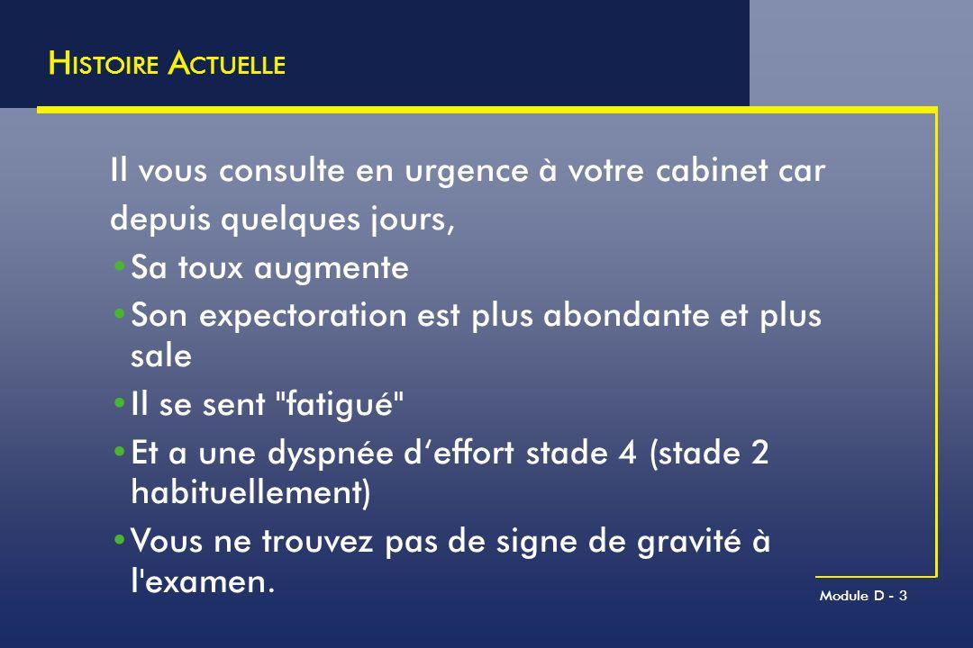 Module D - 44 Q UESTION 6 (traitement) – R EPONSES Quelles thérapeutiques instituez-vous dans cette exacerbation actuellement sans signe de gravité, qui ne nécessite pas l hospitalisation .
