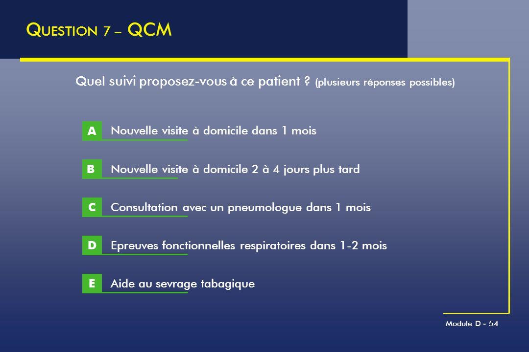 Module D - 54 Q UESTION 7 – QCM B Quel suivi proposez-vous à ce patient ? (plusieurs réponses possibles) A Nouvelle visite à domicile 2 à 4 jours plus