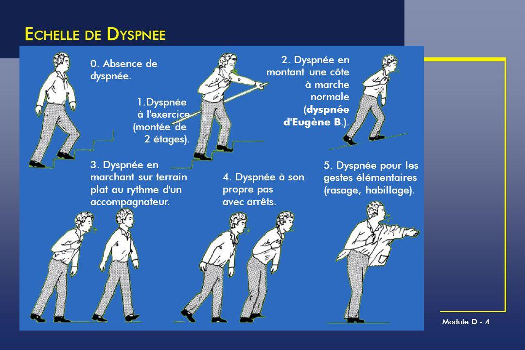 Module D - 4 E CHELLE DE D YSPNEE 0. Absence de dyspnée. 2. Dyspnée en montant une côte à marche normale (dyspnée d'Eugène B.). 3. Dyspnée en marchant