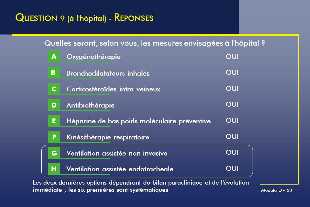 Module D - 63 Q UESTION 9 (à l'hôpital) - R EPONSES Quelles seront, selon vous, les mesures envisagées à l'hôpital ? Oxygénothérapie A Corticostéroïde