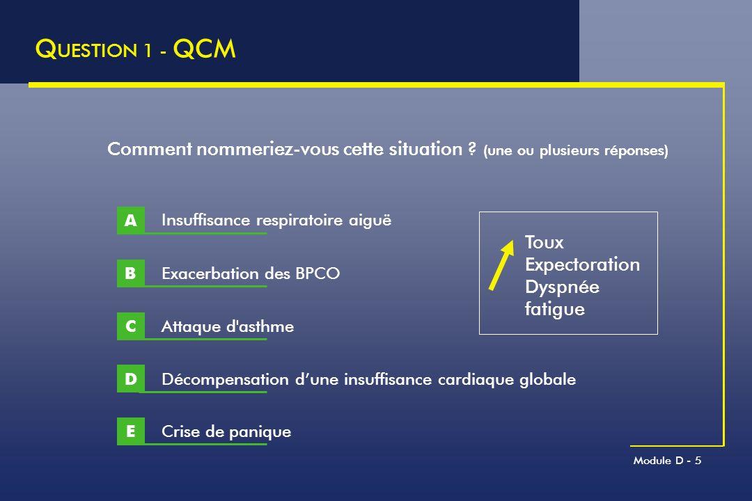 Module D - 36 M ECANISMES DES E XACERBATIONS C ONSEQUENCES T HERAPEUTIQUES Mécanisme Traitement Bronchospasme Bronchodilatateurs Inflammation Corticothérapie Antibiotiques Distension Bronchodilatateurs Corticothérapie Dysfonction des muscles respiratoires Levée de l obstruction Ventilation non invasive si sévère Altération V A /Q Oxygénothérapie