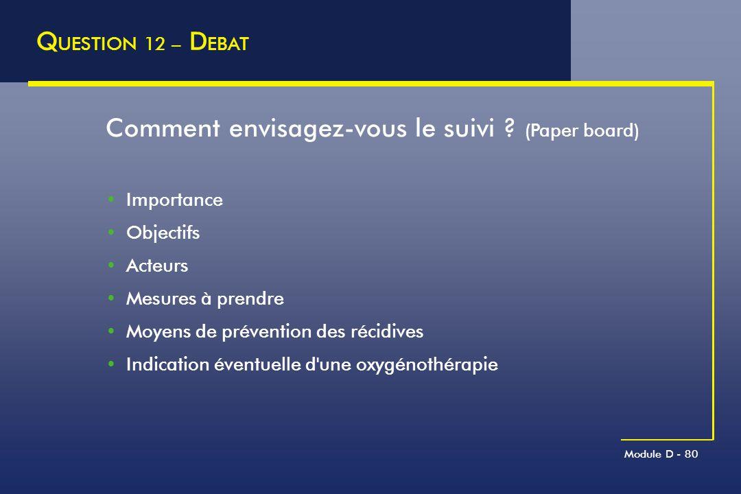 Module D - 80 Q UESTION 12 – D EBAT Comment envisagez-vous le suivi ? (Paper board) Importance Objectifs Acteurs Mesures à prendre Moyens de préventio
