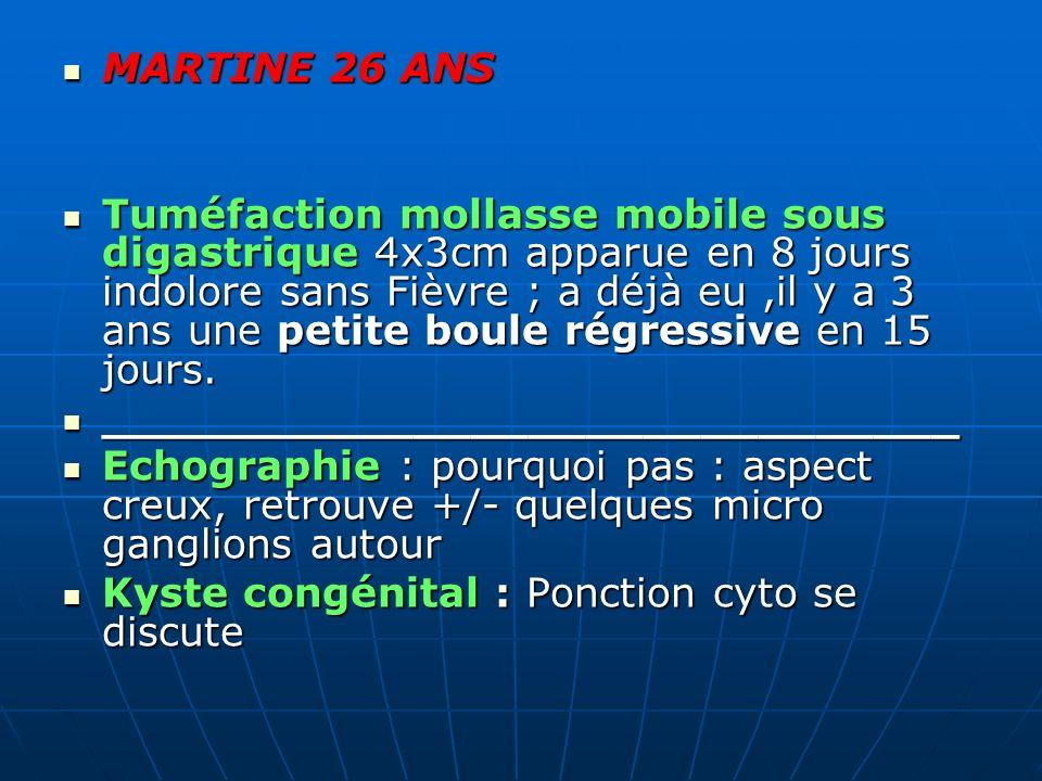 MARTINE 26 ANS MARTINE 26 ANS Tuméfaction mollasse mobile sous digastrique 4x3cm apparue en 8 jours indolore sans Fièvre ; a déjà eu,il y a 3 ans une