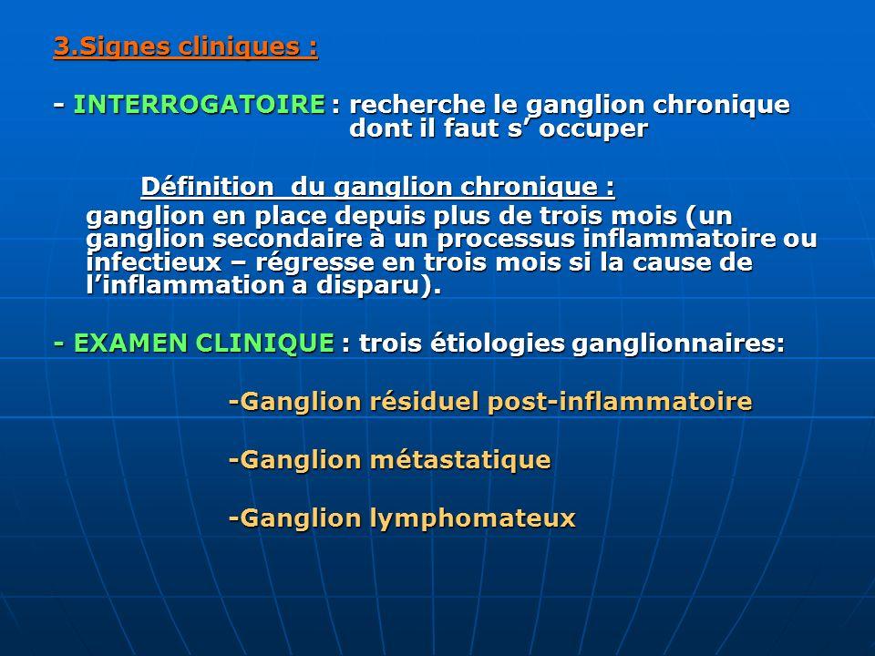 3.Signes cliniques : - INTERROGATOIRE : recherche le ganglion chronique dont il faut s occuper Définition du ganglion chronique : ganglion en place de
