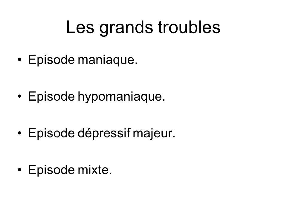 Les grands troubles Episode maniaque. Episode hypomaniaque. Episode dépressif majeur. Episode mixte.