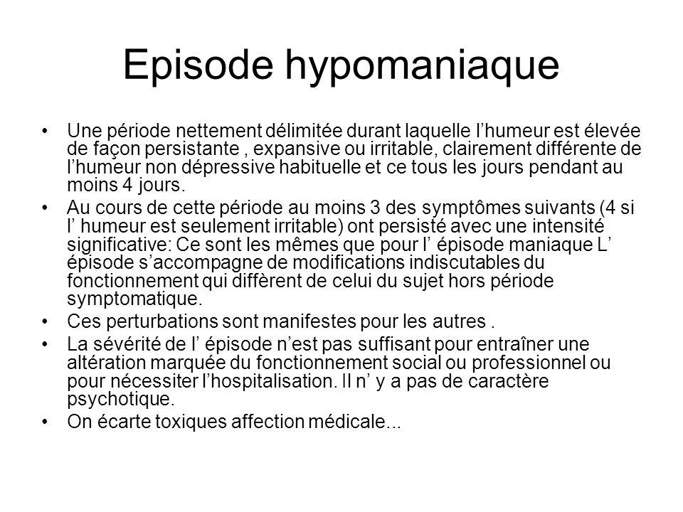 Episode hypomaniaque Une période nettement délimitée durant laquelle lhumeur est élevée de façon persistante, expansive ou irritable, clairement diffé