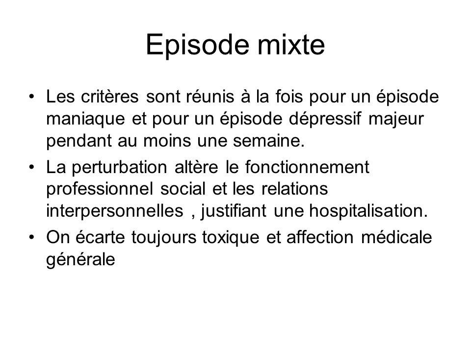 Episode mixte Les critères sont réunis à la fois pour un épisode maniaque et pour un épisode dépressif majeur pendant au moins une semaine. La perturb