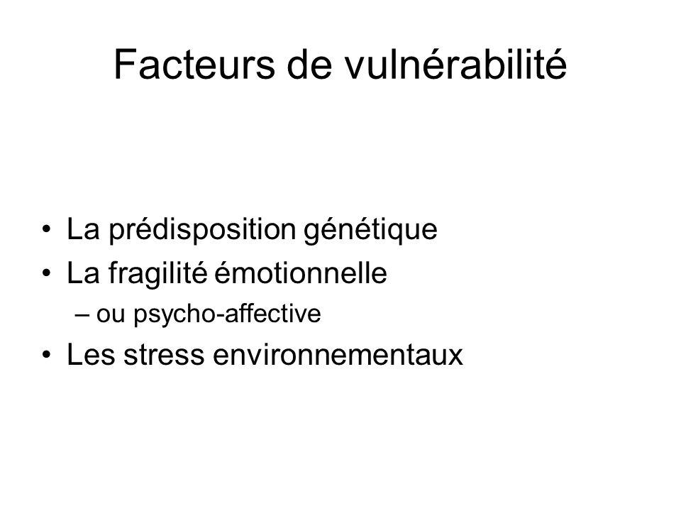 Facteurs de vulnérabilité La prédisposition génétique La fragilité émotionnelle –ou psycho-affective Les stress environnementaux
