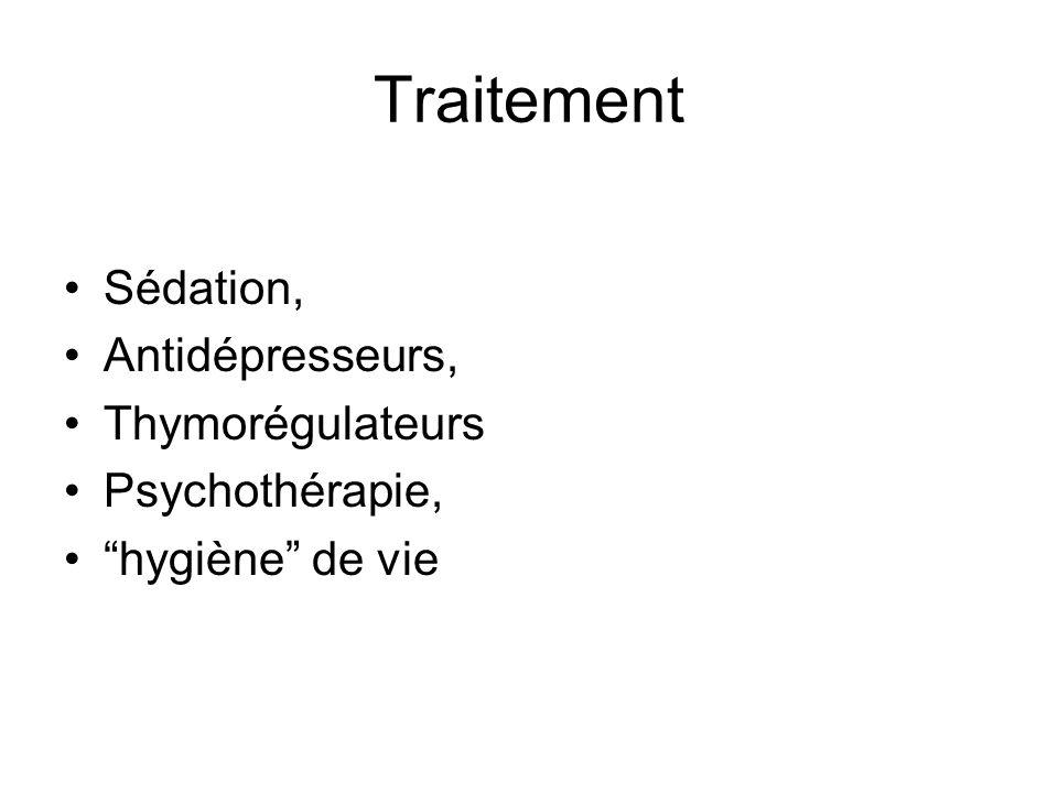 Traitement Sédation, Antidépresseurs, Thymorégulateurs Psychothérapie, hygiène de vie