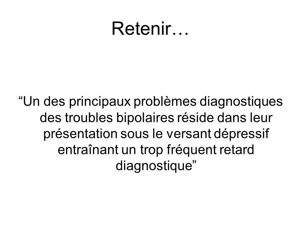 Retenir… Un des principaux problèmes diagnostiques des troubles bipolaires réside dans leur présentation sous le versant dépressif entraînant un trop