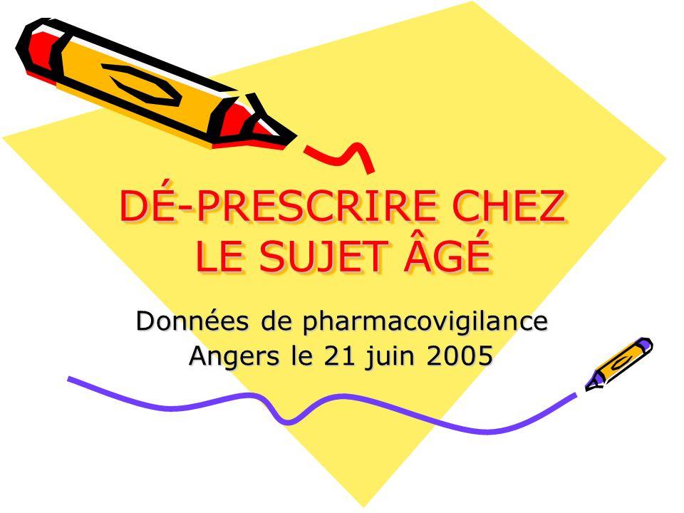 DÉ-PRESCRIRE CHEZ LE SUJET ÂGÉ Données de pharmacovigilance Angers le 21 juin 2005