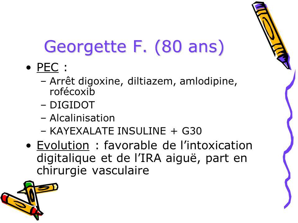 Georgette F. (80 ans) PEC : –Arrêt digoxine, diltiazem, amlodipine, rofécoxib –DIGIDOT –Alcalinisation –KAYEXALATE INSULINE + G30 Evolution : favorabl