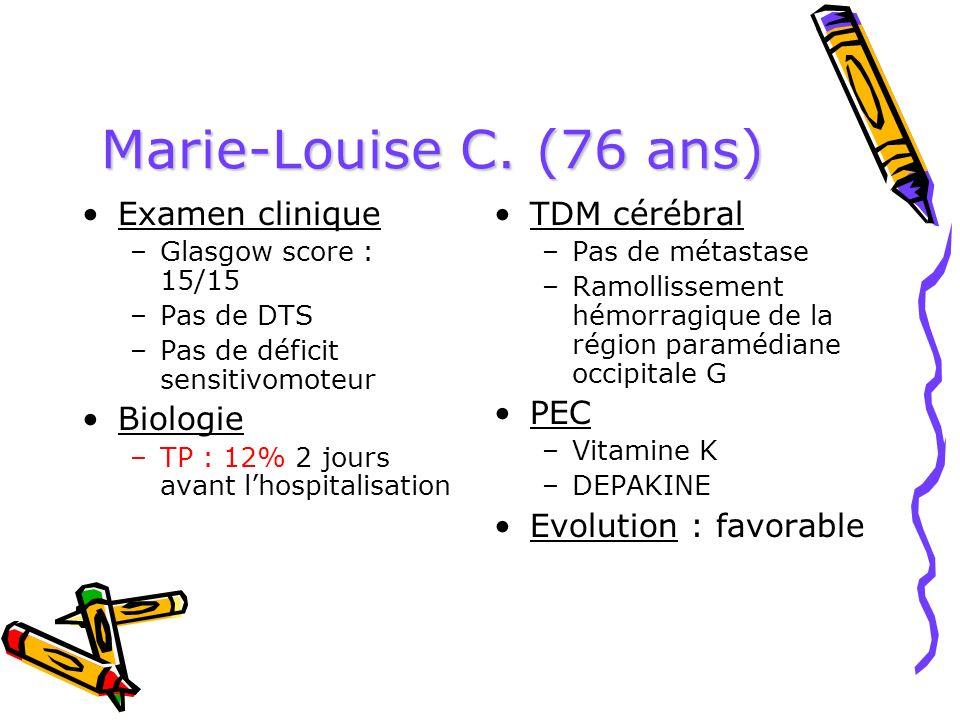 Marie-Louise C. (76 ans) Examen clinique –Glasgow score : 15/15 –Pas de DTS –Pas de déficit sensitivomoteur Biologie –TP : 12% 2 jours avant lhospital