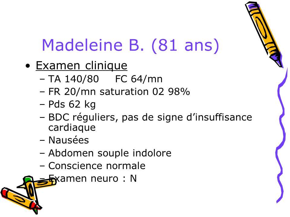 Madeleine B. (81 ans) Examen clinique –TA 140/80 FC 64/mn –FR 20/mn saturation 02 98% –Pds 62 kg –BDC réguliers, pas de signe dinsuffisance cardiaque