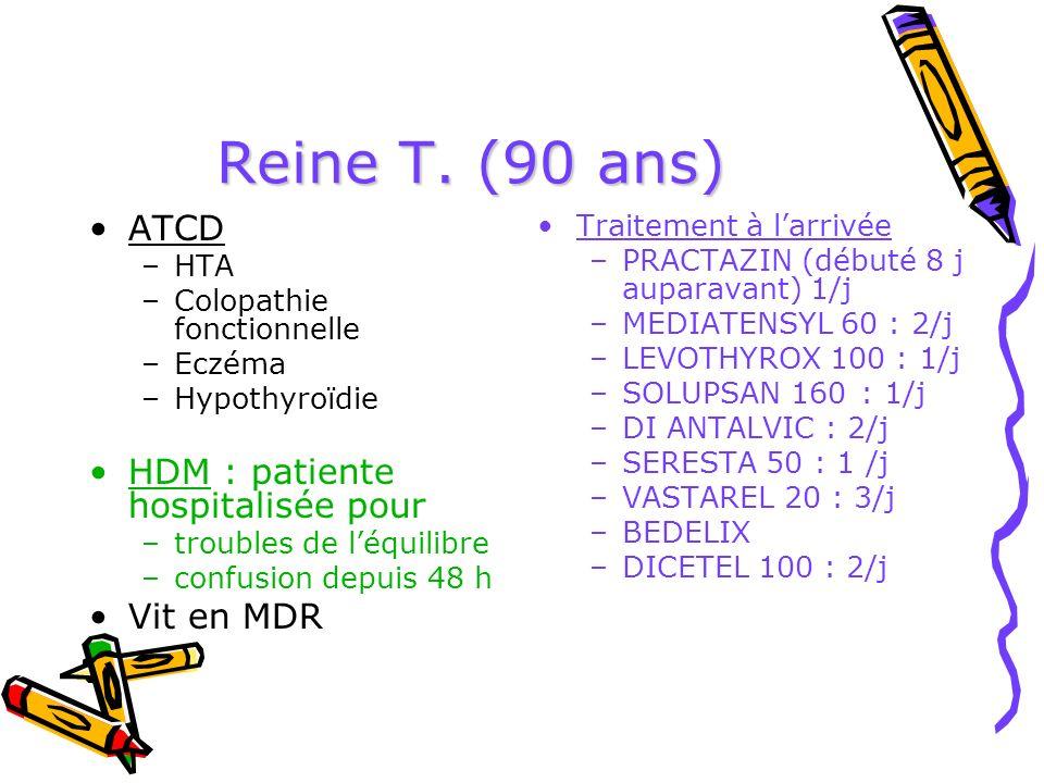 Reine T. (90 ans) ATCD –HTA –Colopathie fonctionnelle –Eczéma –Hypothyroïdie HDM : patiente hospitalisée pour –troubles de léquilibre –confusion depui