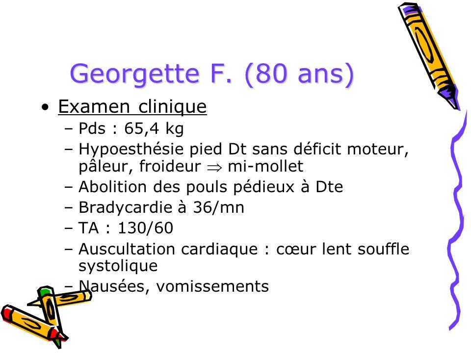 Georgette F. (80 ans) Examen clinique –Pds : 65,4 kg –Hypoesthésie pied Dt sans déficit moteur, pâleur, froideur mi-mollet –Abolition des pouls pédieu