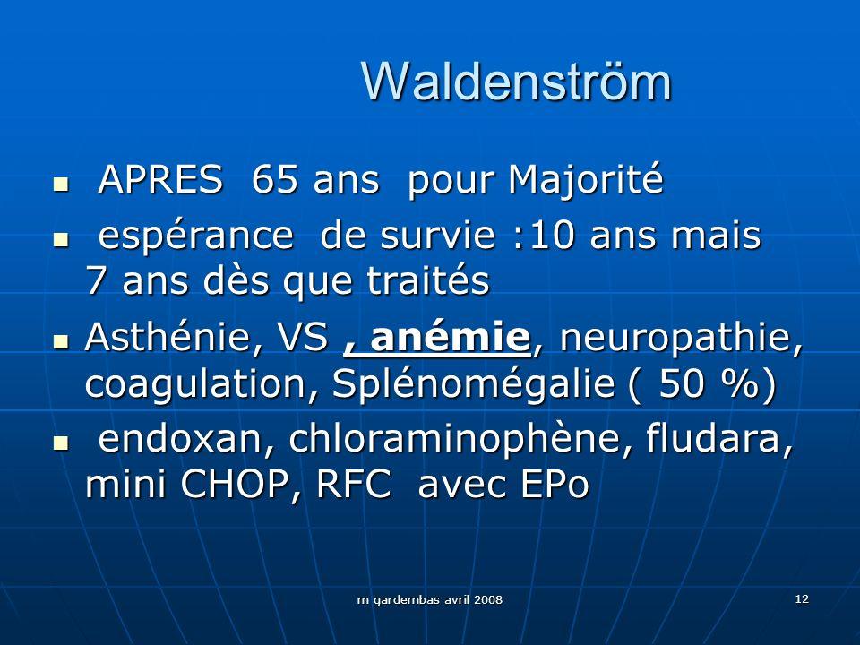 m gardembas avril 2008 12 Waldenström APRES 65 ans pour Majorité APRES 65 ans pour Majorité espérance de survie :10 ans mais 7 ans dès que traités esp
