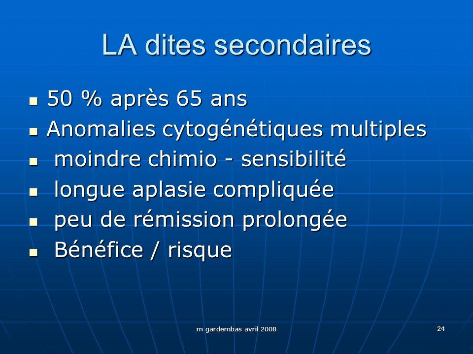m gardembas avril 2008 24 LA dites secondaires 50 % après 65 ans 50 % après 65 ans Anomalies cytogénétiques multiples Anomalies cytogénétiques multipl