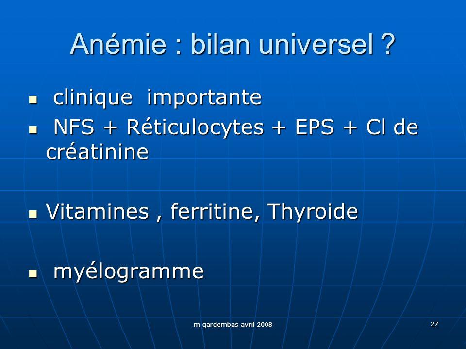m gardembas avril 2008 27 Anémie : bilan universel ? clinique importante clinique importante NFS + Réticulocytes + EPS + Cl de créatinine NFS + Réticu