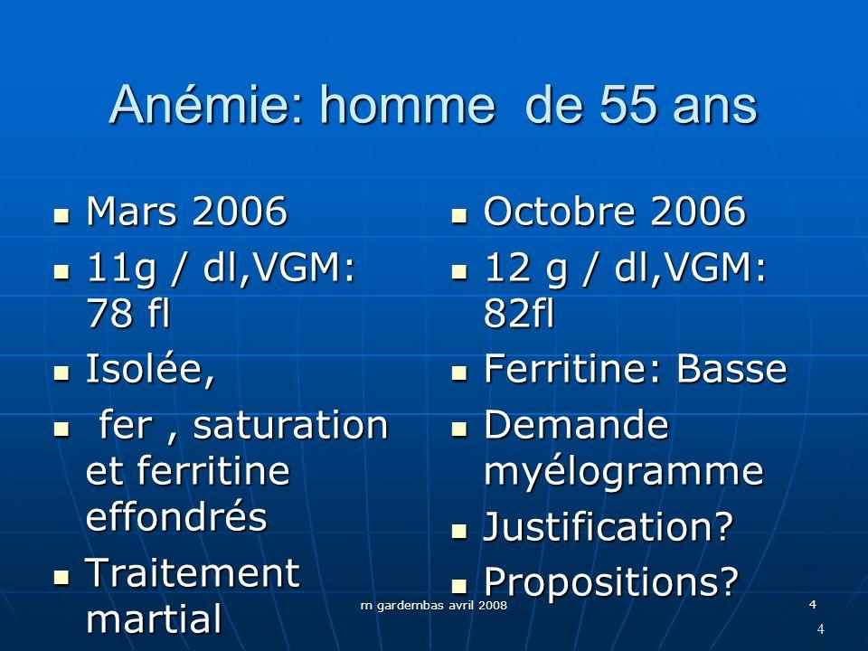 m gardembas avril 2008 4 Anémie: homme de 55 ans Mars 2006 Mars 2006 11g / dl,VGM: 78 fl 11g / dl,VGM: 78 fl Isolée, Isolée, fer, saturation et ferrit