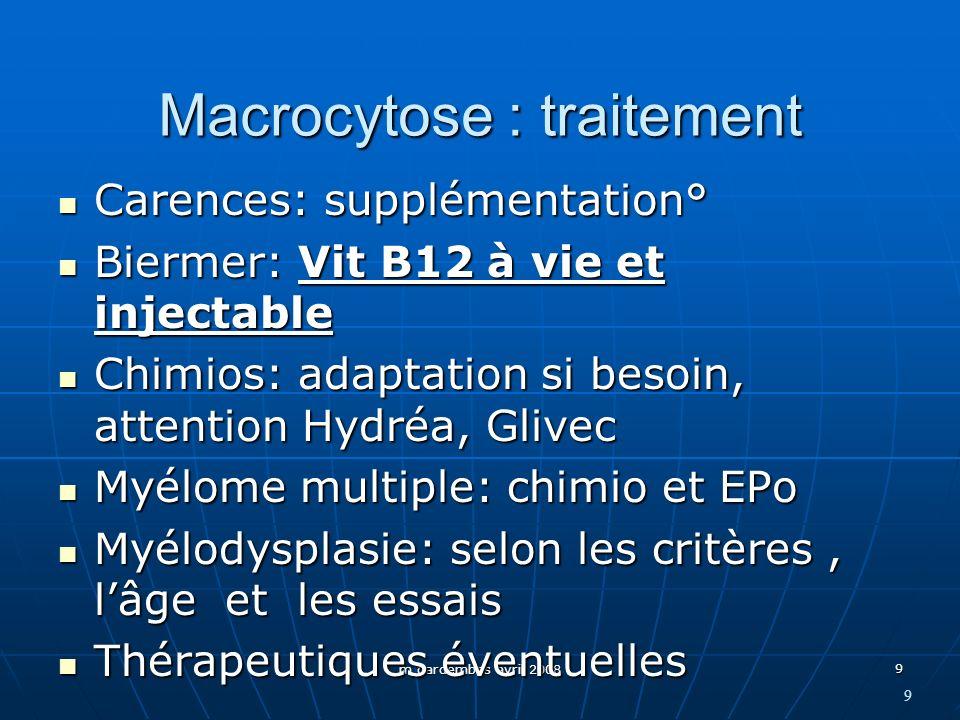 m gardembas avril 2008 9 Macrocytose : traitement Carences: supplémentation° Carences: supplémentation° Biermer: Vit B12 à vie et injectable Biermer: