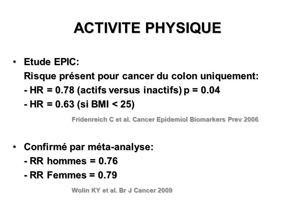 ACTIVITE PHYSIQUE Etude EPIC:Etude EPIC: Risque présent pour cancer du colon uniquement: - HR = 0.78 (actifs versus inactifs) p = 0.04 - HR = 0.63 (si