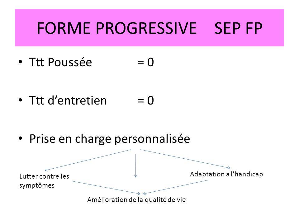 FORME PROGRESSIVE SEP FP Ttt Poussée = 0 Ttt dentretien = 0 Prise en charge personnalisée Lutter contre les symptômes Adaptation a lhandicap Améliorat