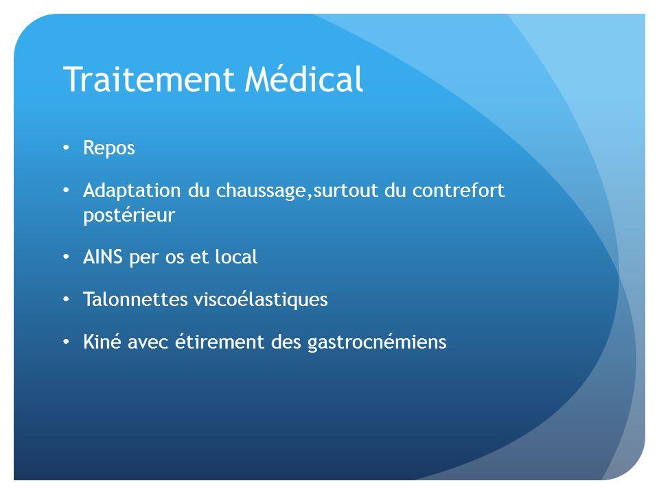 Traitement Médical Repos Adaptation du chaussage,surtout du contrefort postérieur AINS per os et local Talonnettes viscoélastiques Kiné avec étirement
