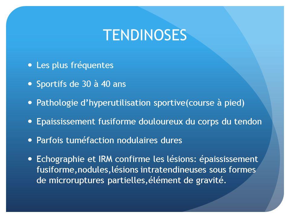 Les plus fréquentes Sportifs de 30 à 40 ans Pathologie dhyperutilisation sportive(course à pied) Epaississement fusiforme douloureux du corps du tendo