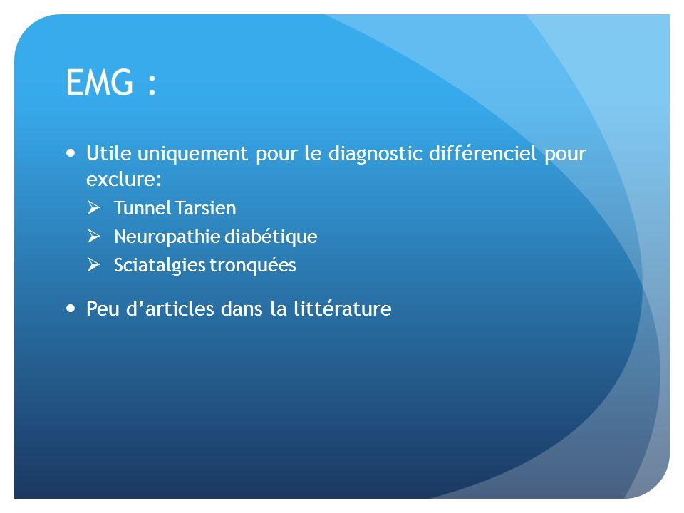 EMG : Utile uniquement pour le diagnostic différenciel pour exclure: Tunnel Tarsien Neuropathie diabétique Sciatalgies tronquées Peu darticles dans la littérature