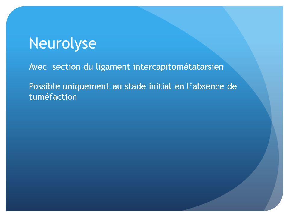 Neurolyse Avec section du ligament intercapitométatarsien Possible uniquement au stade initial en labsence de tuméfaction
